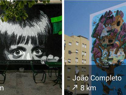 Aplicación de arte urbano lisboeta.