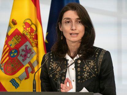 La ministra de Justicia, Pilar Llop, interviene en la presentación de la Carta de Derechos Digitales, en La Moncloa, este miércoles.