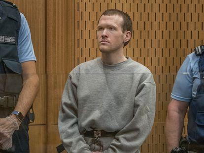 Brenton Tarrant, durante el juicio en la corte de Christchurch, en Nueva Zelanda, este lunes.