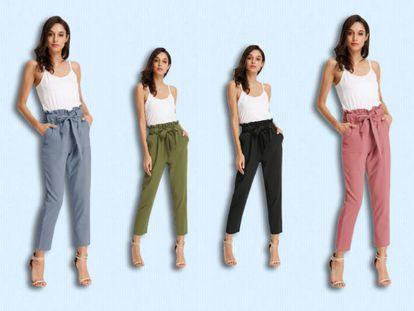 Este pantalón tipo 'paper bag' está disponible en más de 20 tonos, entre ellos, azul, verde, negro o rosa.