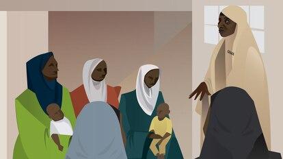 La ilustración representa a la trabajadora sanitaria Amina Ahmed instruyendo a un grupo de madres sobre las vacunas.