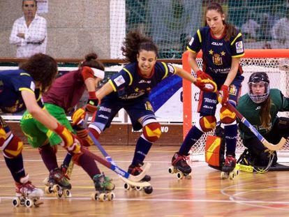 Imagen del encuentro suspendido entre España y Portugal.