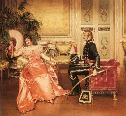 'Flirtation' (Flirteo), cuadro de Frédéric Soulacroix.
