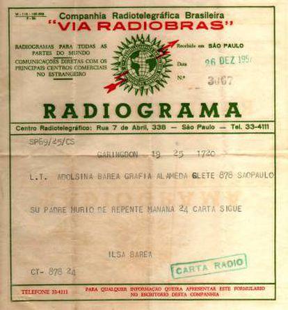 Radiograma con el anuncio de la muerte de Arturo Barea.