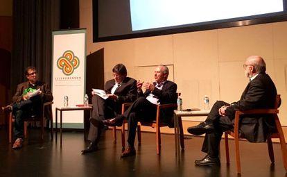 De izquierda a derecha, Alberto Salcedo Ramos, Jaime Abello, Darío Arizmendi y Rosental Alves, en la charla sobre García Márquez en Austin.