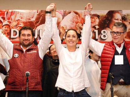 Claudia Sheinbaum celebra el triunfo electoral.