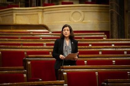 La diputada electa del PSC, Eva Granados, durante su intervención en la Diputación Permanente del Parlament.
