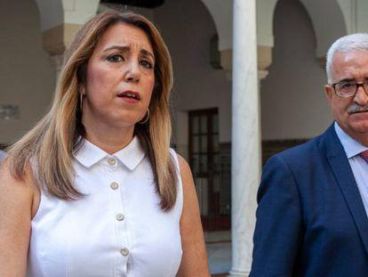 La presidenta andaluza, Susana Díaz, junto a su vicepresidente, Manuel Jiménez Barrios.
