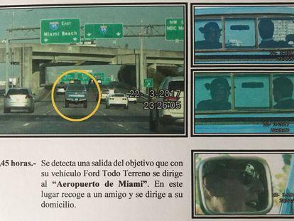 Imágenes del seguimiento a Julio José en Miami que figuran en el informe de los detectives. La hora es la de España, que no se cambió para evitar confusiones en el futuro juicio.
