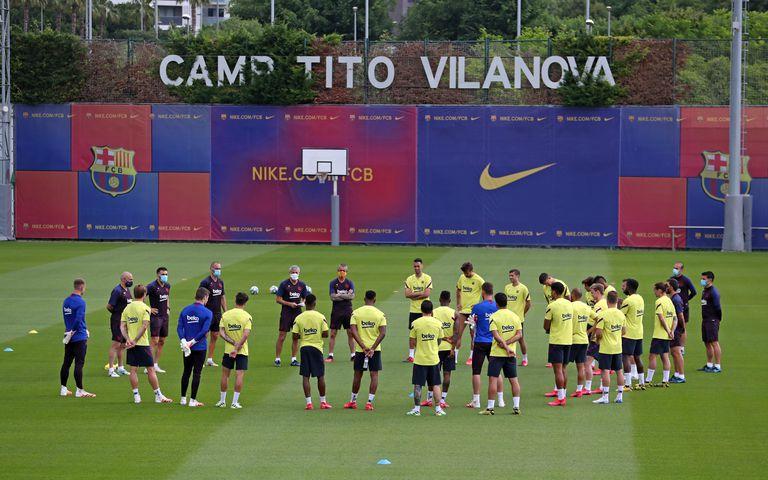 Imagen de una de las sesiones del Barcelona en esta semana.