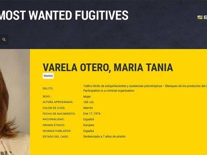 Tania Varela, en el cartel de Interpol que la situaba como una de las fugitivas más buscadas.
