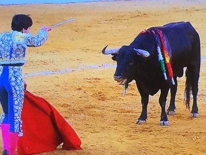 Álvaro Lorenzo se perfila para la suerte suprema ante su primer toro.