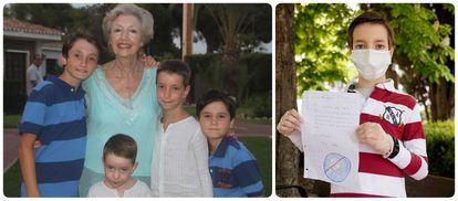 Adrián, con sus primos y su abuela (a la izquierda de esta, con camisa blanca) y en diciembre posando con la carta que le envió cuando estaba en el hospital.