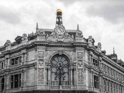 Vista de la fachada del edificio del Banco de España, en Madrid.
