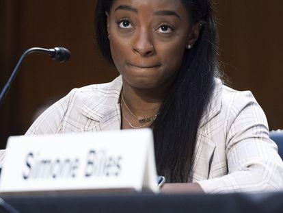 Simone Biles, durante su declaración el pasado miércoles.