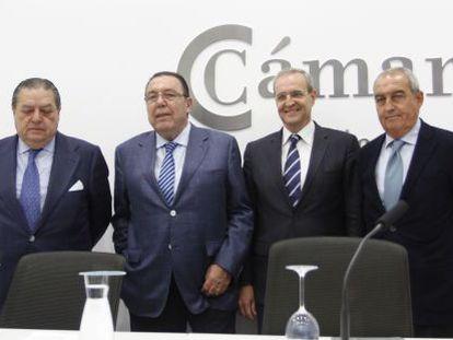 Los empresarios, Boluda, Garrigós, Jiménez y Félix, en Alicante.