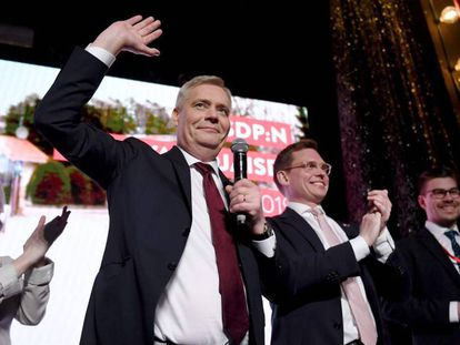 El líder de los socialdemócratas finlandeses, Antti Rinne, en la fiesta de celebración de su partido en Helsinki.
