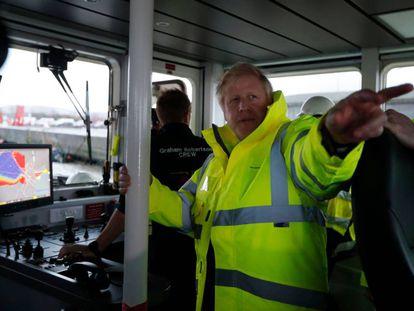 Boris Johnson, este jueves en el puerto de Bristol.