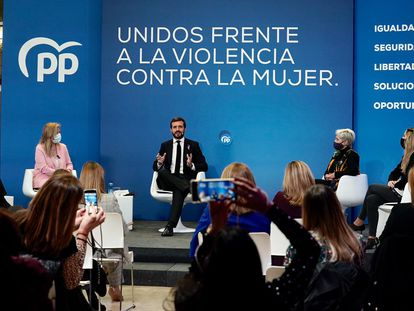 Pablo Casado, el miércoles, en el acto montado por el PP en el día internacional contra la violencia machista.