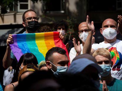 Protesta en Barcelona contra las agresiones homófobas, este sábado.