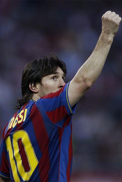 Leo Messi celebra el primer tanto del Barcelona.