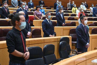 Pedro Sánchez y Pablo Iglesias en el Senado, el 8 de septiembre.