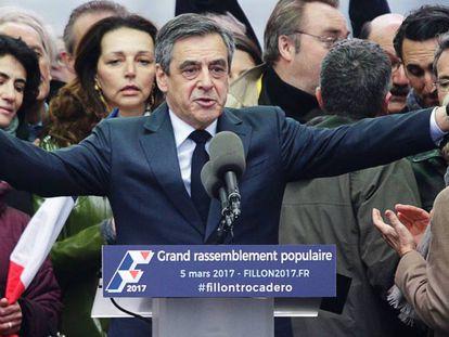 El candidato presidencial François Fillon en un momento de su discurso el pasado 5 de marzo, en París.