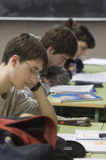 Alumnos de secundaria de un centro de Barcelona.