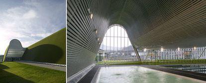 Exterior e interior del Centro Deportivo y de Ocio, en Langreo (Asturias).