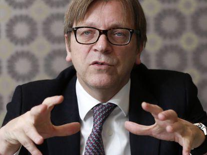 El líder del Grupo ALDE y europarlamentario Guy Verhofstadt, en el Parlamento Europeo en 2015.