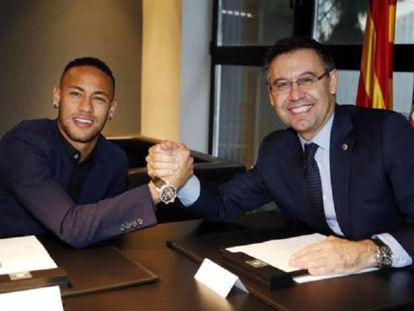 Neymar y Bartomeu, el día de la renovación del jugador hasta 2021.