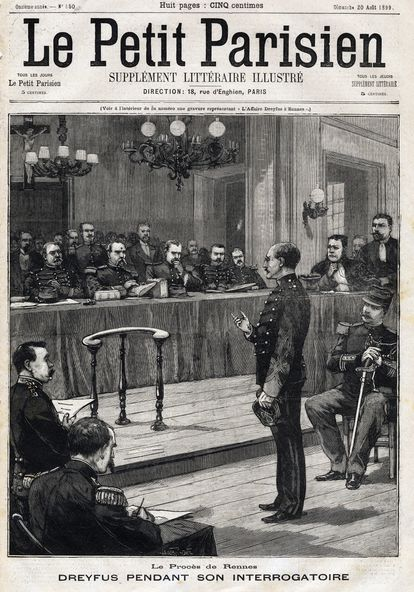 The newspaper 'Le Petit Parisien' portrayed Dreyfus being interrogated on the front page (1899).