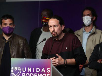 Pablo Iglesias, candidato de Podemos, durante su comparecencia tras conocer los resultados electorales.