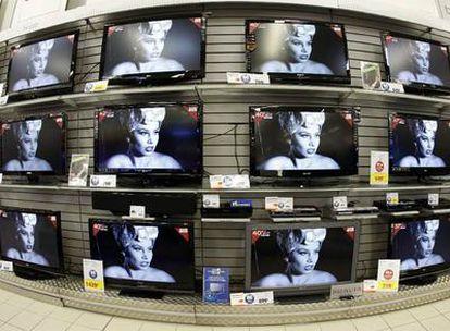 Televisores en una tienda.