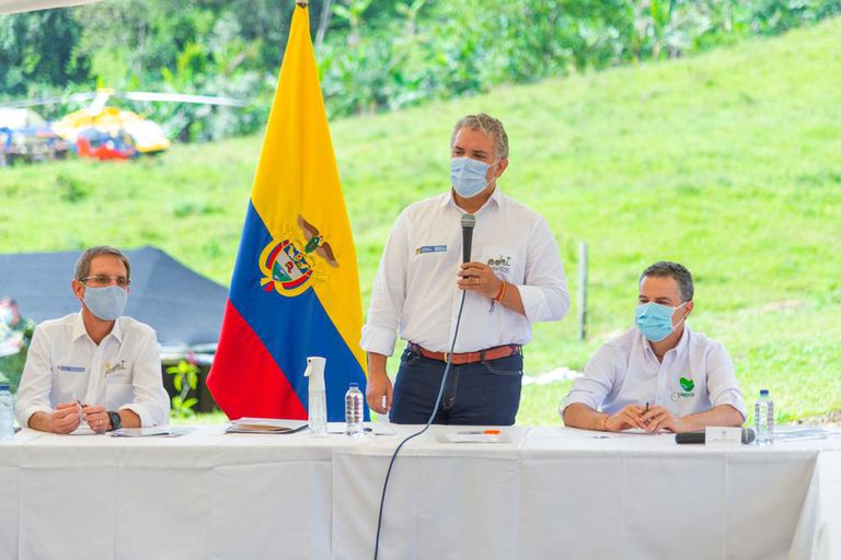 The president of Colombia, Iván Duque, in Llano Grande.