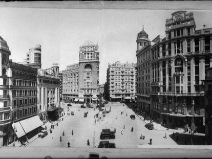 Plaza del Callao y el antiguo Hotel Florida (a la derecha).