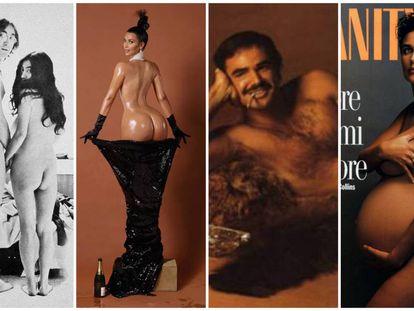 Elton John y Yoko Ono, Kim Kardashian, Burt Reybnolds y Demi Moore, ejemplos de desnudos (parciales o no) que impactaron en diferentes décadas y contextos culturales.