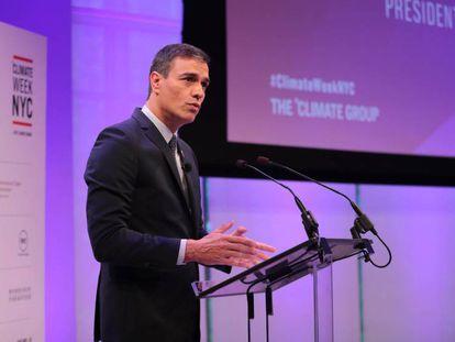 Pedro Sánchez, este lunes en Nueva York. En vídeo, intervención de Sánchez en la cumbre.
