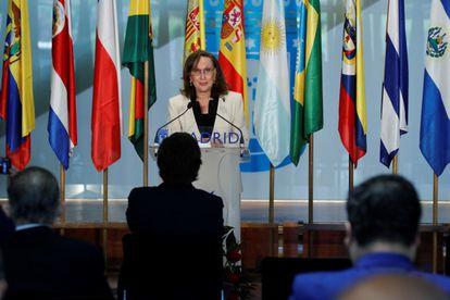 La secretaria general iberoamericana, el viernes pasado en Madrid.