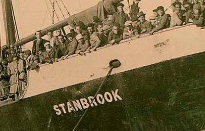 Refugiados españoles, a bordo del 'Stanbrook' en 1939.