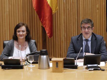 Cristina Herrero y Patxi López, este martes.