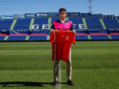 Jaime Mata, con la camiseta de España.