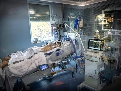 Un enfermo en la UCI del Clínico de Valencia.