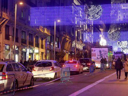 Zona habilitada para los peatones durante la Operación Navidad en la Gran Via.
