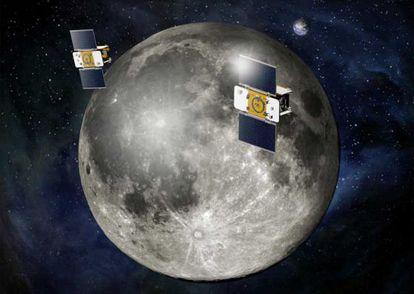 Ilustración de las sondas gemelas de la misión Grail en órbita de la Luna.