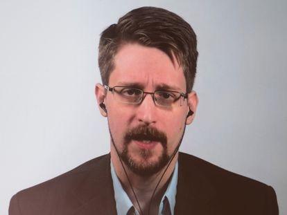 Edward Snowden, en una videconferencia sobre su libro, en septiembre de 2019.