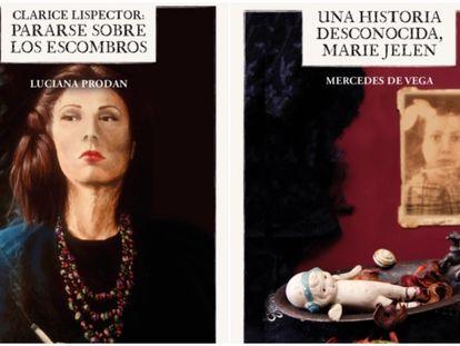 Dos de las portadas de la colección Palabras hilanderas.