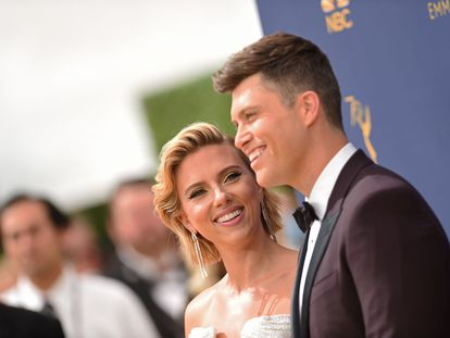 Scarlett Johansson, con Colin Jost, su tercer marido.