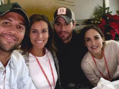 Fernando Verdasco, junto a su esposa Ana Boyer, Enrique Iglesias y Tamara Falcó, el sábado en Madrid.