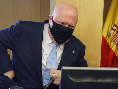 El comisario jubilado José Manuel Villarejo en su comparecencia ante la comisión parlamentaria Kitchen el pasado mayo.